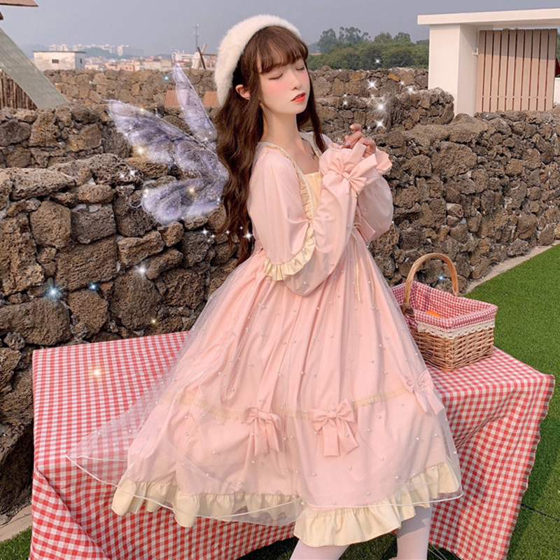 Lolita Fairy Dress Women Autumn Winter New Sweet Temperament Mesh Lolita Long Sleeve Big Swing Dress