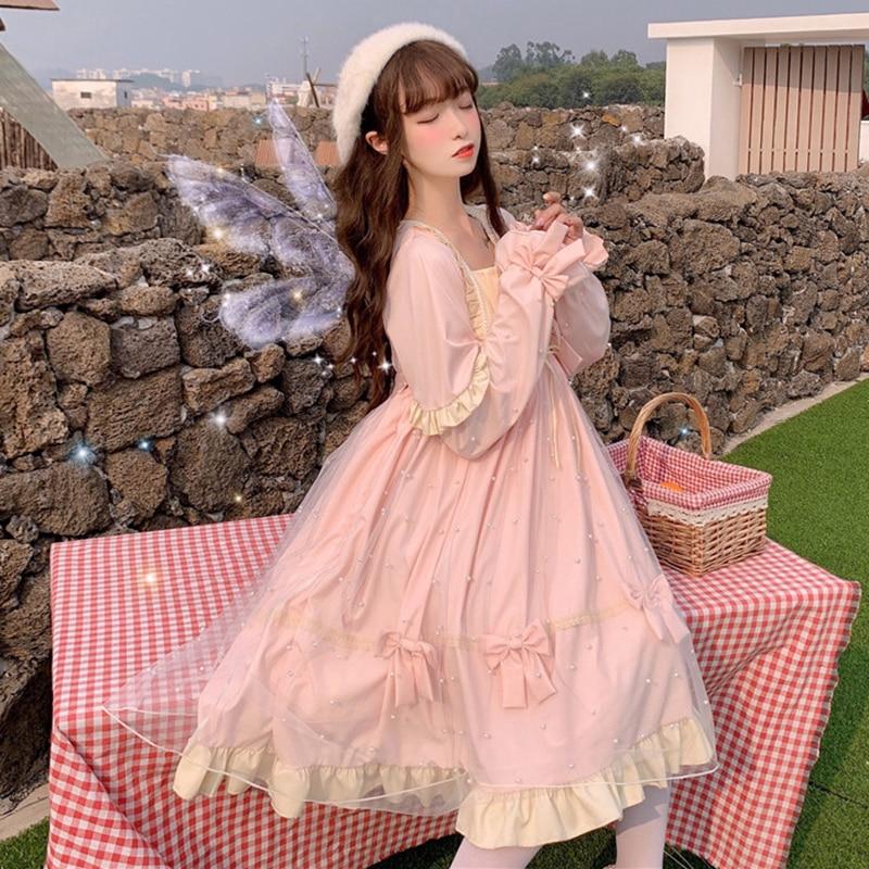Lolita Fairy Dress Women Autumn Winter New Sweet Temperament Mesh Lolita Long Sleeve Big Swing Dress
