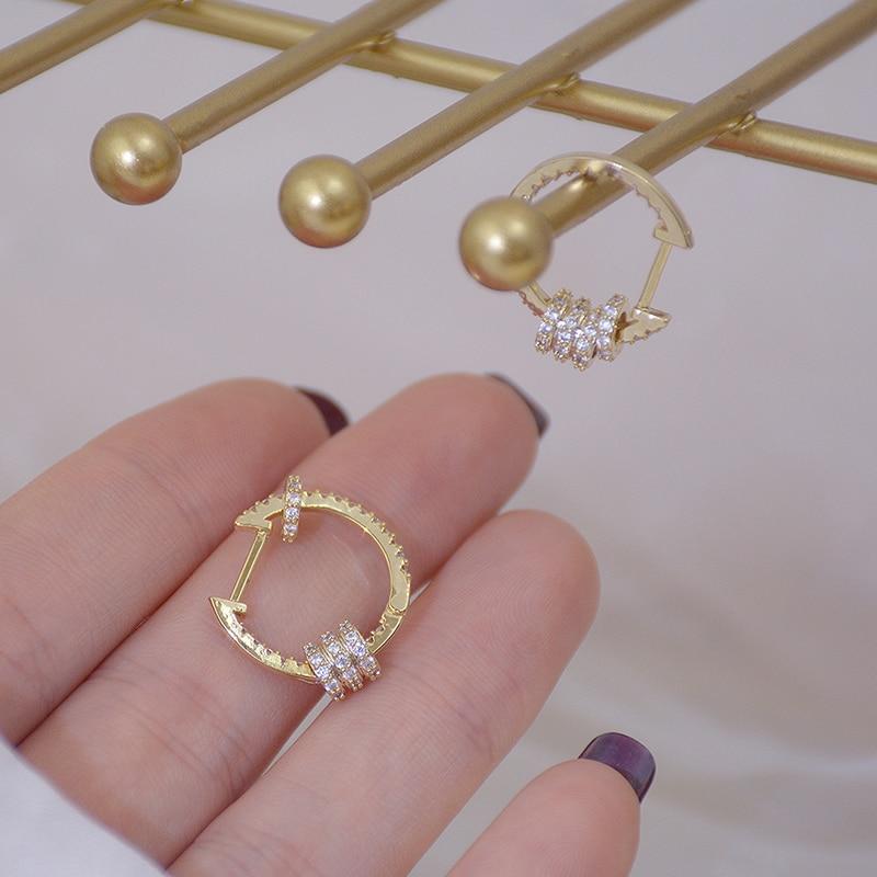 14k or véritable luxe Super brillant boucles d'oreilles boucle de haute qualité délicate AAA Zircon cercle boucle d'oreille bijoux pendentif accessoires 5