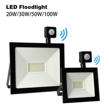 LED Floodlight With Motion Sensor 30W 50W 100W 20W led Outdoor Spotlight 220V PIR LED Flood light Projector Lamp Spot for Garden led flood light 10w 20w 30w 50w 100w floodlight cob led spotlight outdoor lighting projector reflector garden squarer wall lamp