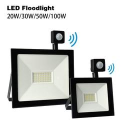 Светодиодный прожектор с датчиком движения, 30 Вт, 50 Вт, 100 Вт, 20 Вт, светодиодный уличный Точечный светильник 220 В, PIR Светодиодный прожектор, п...