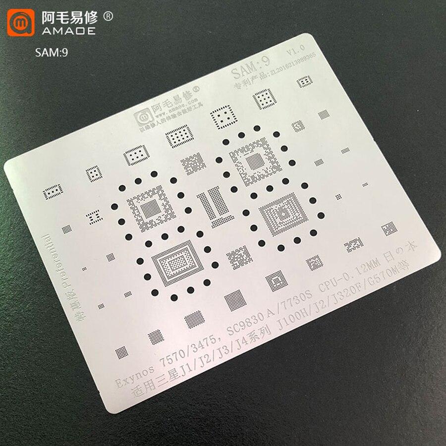 Amaoe SAM9 BGA Reballing Stencil for Samsung J1/J2/J3/J4 Series/J100H/J320F/G570M for Exynos 7570/3475/SC9830A/7730S CPU Power 1