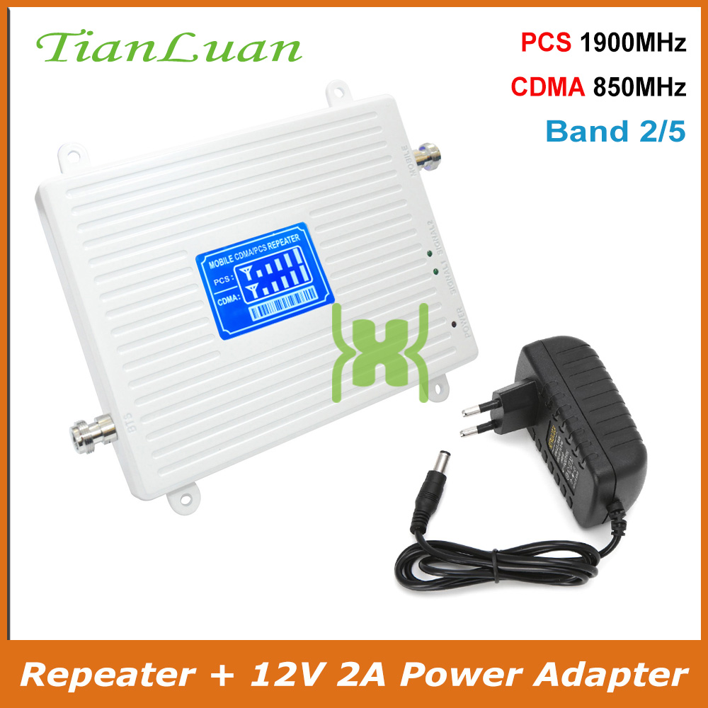 TianLuan Band 2, 5 Mobile Phone Signal Booster 2G 3G CDMA 850 PCS 1900 MHz Cellular 850MHz 1900MHz Signal Repeater Amplifier