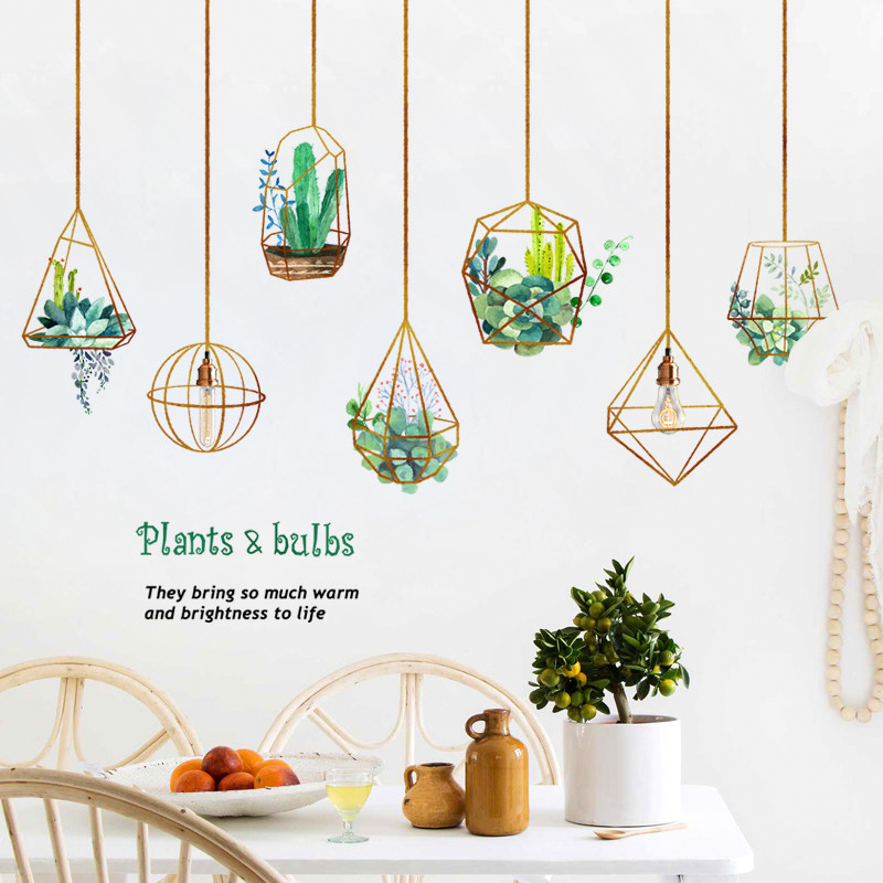 Creative Nordic Plant Wall Stickers Home Decor Decorations Living Room Bedroom Background Wall Decoration Self Adhesive Stickers