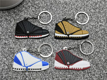 Mini Silicone Jordan 16 Shoes Keychain Bag Charm Woman Men Kids Cute Air Sneaker Key Ring Gifts Accessories Key Holder Pendant(China)