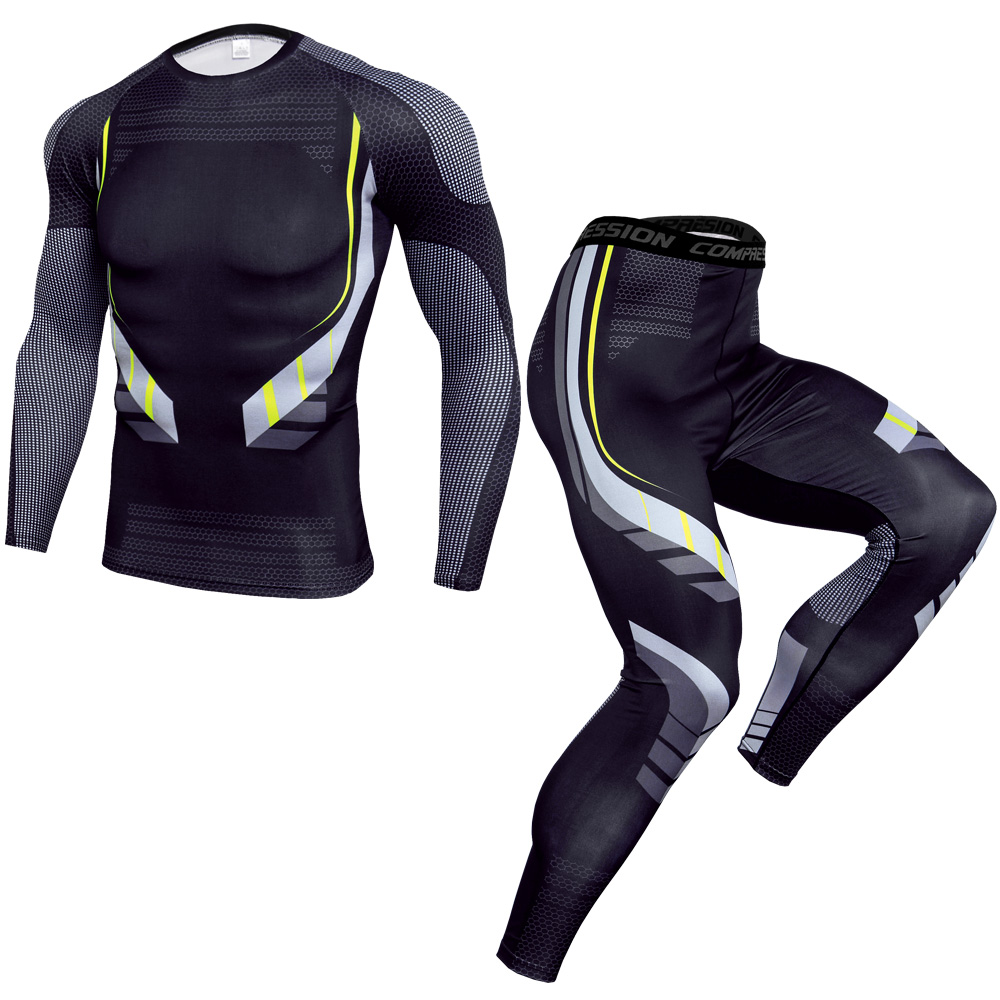 running - New Men Running Sport Compression Sets t shirt And Pants Suits Jogging Workout Set Male Gym Fitness Crossfit Sportswear Leggings