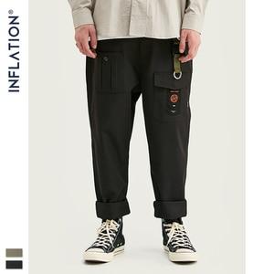 Image 2 - INFLATION Loose Straight Men Cargo Pants 2020 Autumn Streetwear Functional Pocket Men Pants Hip Hop Solid Men Casual Pant 93341W