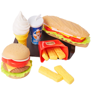 Children Pretend Simulation Food Toys Baby Play House Hamburger Hot dog French Fries Kitchen Set Toys Fast Food Educational Toys