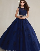 2 Piece Quinceanera Cheap Gowns Long Sweet 16 Princess For 15 Anos Navy Blue Aqua Blush White Ball Gown Online