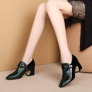 Image 3 - ALLBITEFO Two kinds of genuine leather high heel shoes women heels spring autumn high heels Belt buckle office ladies shoes