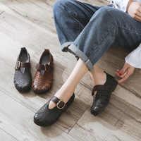 Frauen Leder Wohnungen Mary Jane Schuhe Herbst Stickerei Damen Loafers Weiche Bottomn Echtem Leder Frauen Flache Handgemachte Schuh Schwarz