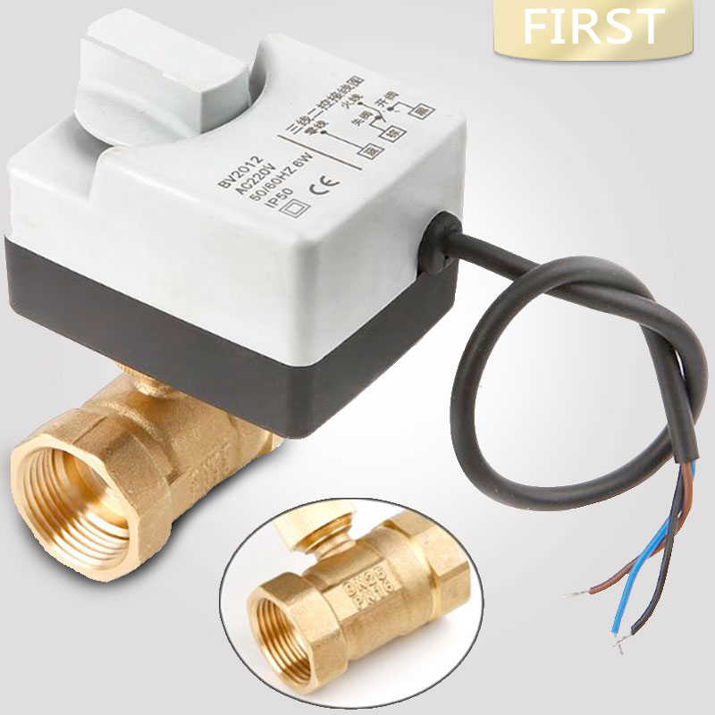AC220V DN15 DN20 DN25 Brass Electric Valve 2-way Motorized Ball Valve Three Wires  Electric Actuato With Manual Switch