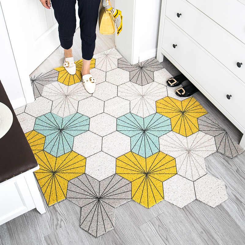 tapis de hall d entree colore a geometrie en pvc antiderapant a boucle metallique pour salon salle de bains