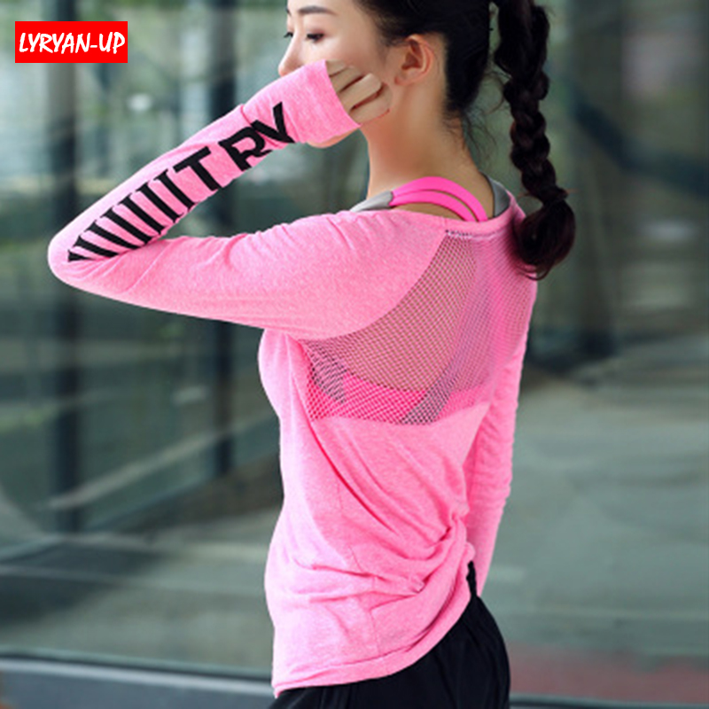 long sleeve women shirts workout gym top Fitness Breathable Yoga Top Quick Dry Running Shirt yoga Shirt sportswear for women in Yoga Shirts from Sports Entertainment