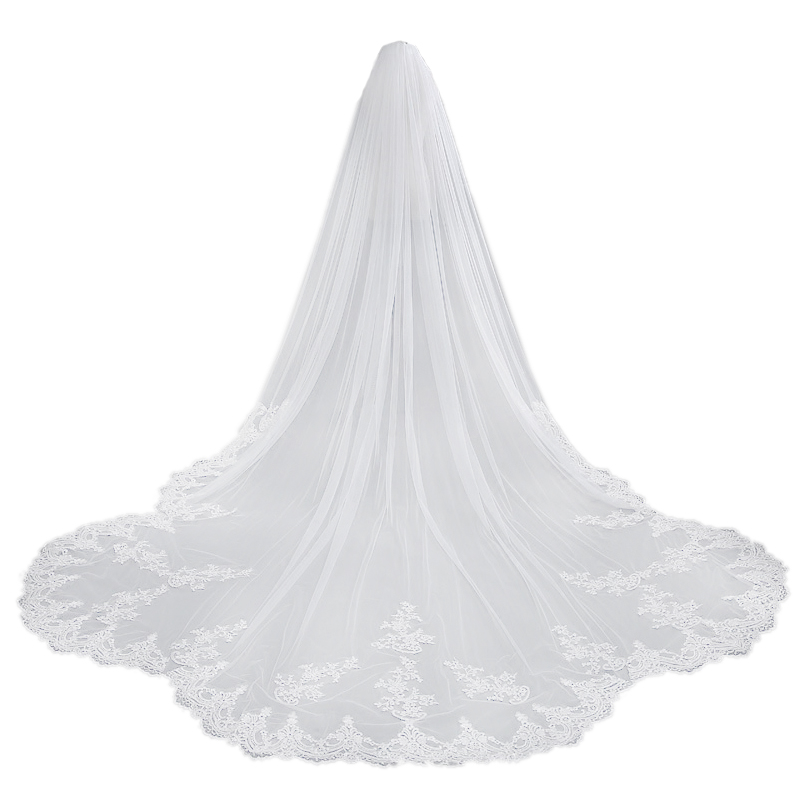 One Layers Ivory Wedding Veil Long Lace Edge Bridal Veils With Comb Elegant Cathedral Wedding