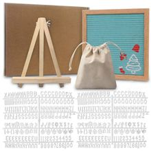 Letter-Board Felt White with 340 Numbers-Bag And Wood Easel 10x10inch Wood-Material Oak