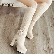 BYQDY Plus Size 34-46 Woman Boots Platform Chunky High Heels Party Boots Women Shoes For Lady Winter Knee High Boots Footwear цена в Москве и Питере
