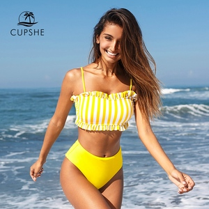 Image 1 - CUPSHE Yellow Stripe High waisted Bikini Sets Sexy Bandeau Tank Top Swimsuit Two Pieces Swimwear Women 2020 Beach Bathing Suits