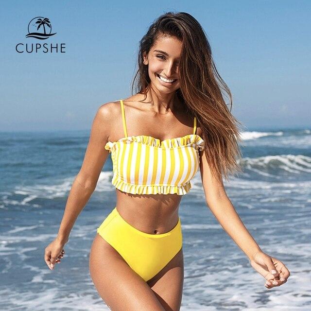 CUPSHE sarı şerit yüksek belli Bikini setleri seksi Bandeau Tank Top mayo İki adet mayo kadınlar 2020 plaj banyo takım elbise