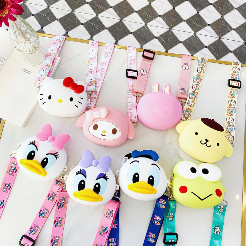 Mini Zipper Kids Shoulder Bags Portable Cute Cartoon Anime Crossbody Bags For Women Soft Silica Gel Circular Evening Clutch Bag