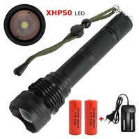 Powerful 2500LM Zoomable LED Flashlight XHP50 5 Modes Self Defence Torch Lamp Highlight Lanterna with 26650 Battery+Charger