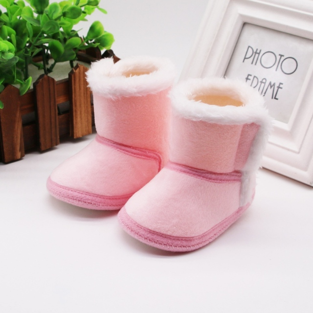 DOGEEK Winter Baby Boys Girls Shoes First Walker Winter Infants Warm Shoes Faux Fur Girls Baby Booties Leather Boy Baby Boots 6