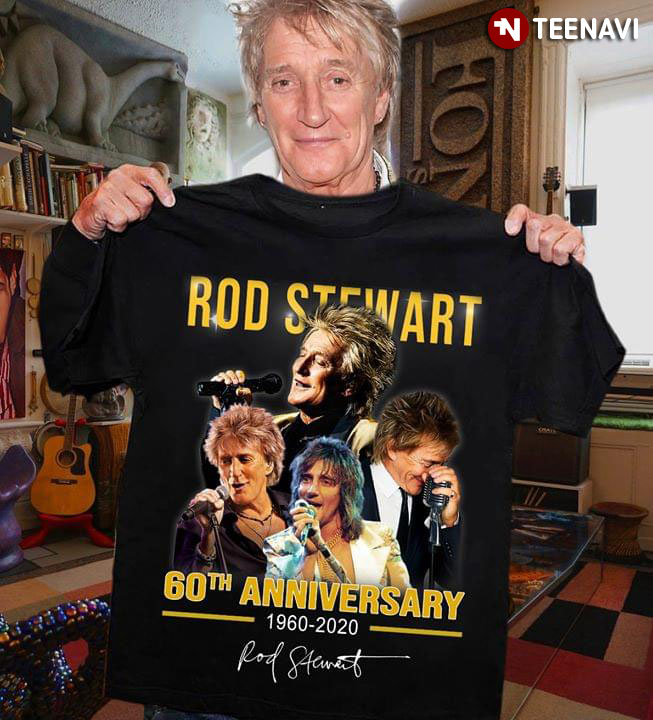 Rod Stewart Iconic Printed Signature T Shirt Black