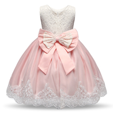 AmzBarley Girls dress Princess sleeveless Lace floral wedding Birthday party tutu toddler girls Bowknot Ball gown clothes