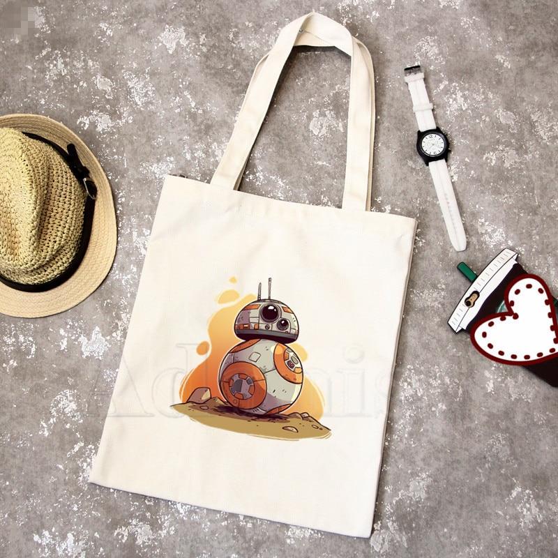 Star War Bb8 Graphic Cartoon Printed Canvas Shoulder Bag Female Harajuku Funny Large-capacity Eco Environmental Shopper Bag