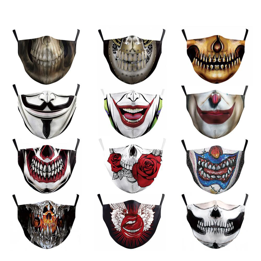 Adult Big Mouth Print Fabric Face Masks Skull Mouth Cover Classic Art Fashion Masks Unisex Mouth Muffle For Climb Cycling Masks