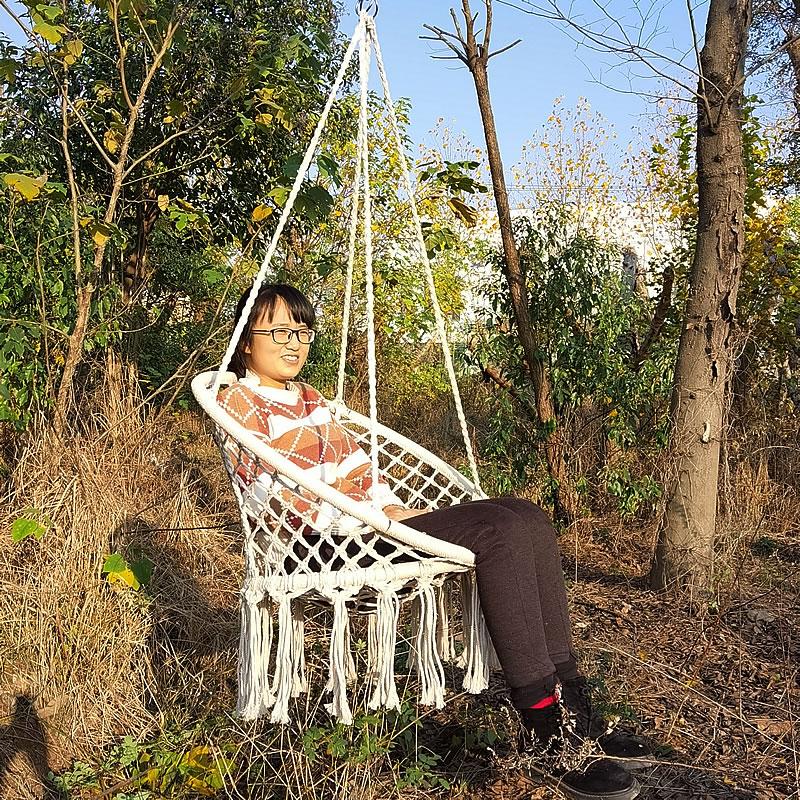 Nordic Handmade Knitted Round Hanging Hammock Outdoor Indoor Dormitory Bedroom Baby Kids Hanging Chair Children Swing Home Decor