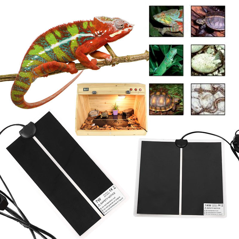 Reptile Heat Mat Incubator Pet Heating Pad Pet Reptile Vivarium Terrarium Warm Heater With Thermostat Controller 5W/7W/14W/20W
