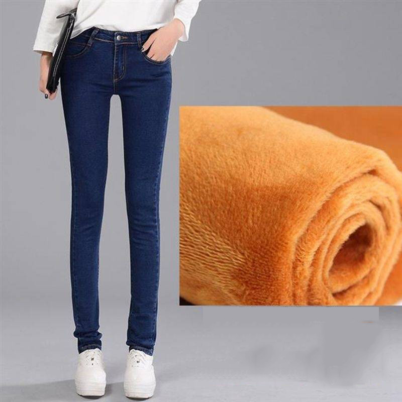 Soft Thickened Black Velvet Insulated Jeans Winter Warm Jeans For Women Elastic High Waist Denim Pants 2019 New Female Trousers