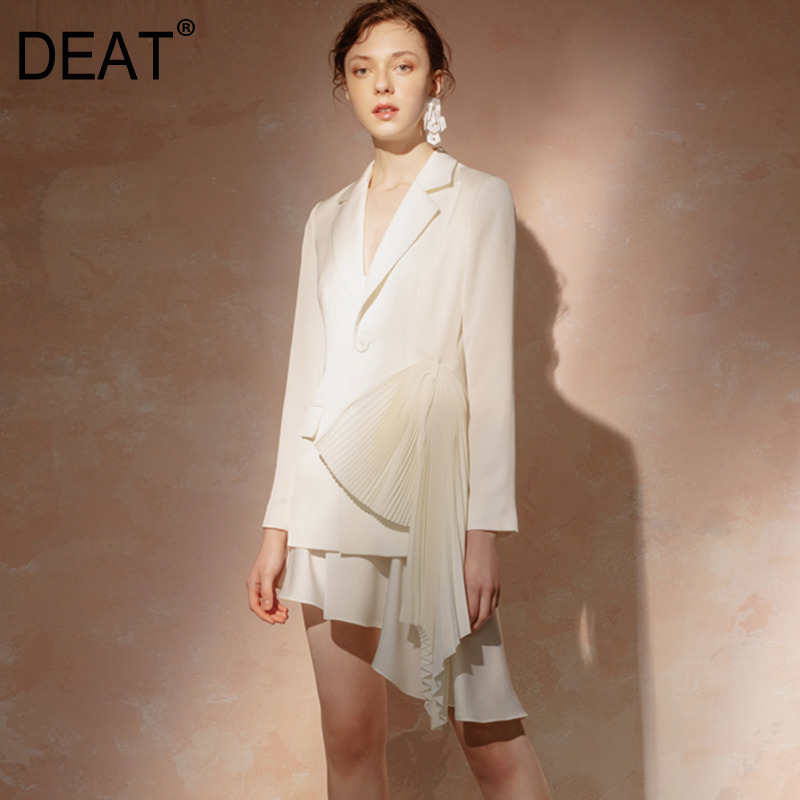 DEAT Beige White Single-breasted Blazer Irregular Fishtail Strap Dress Woman Two-piece Simple Fashion 2020 Spring New TV821