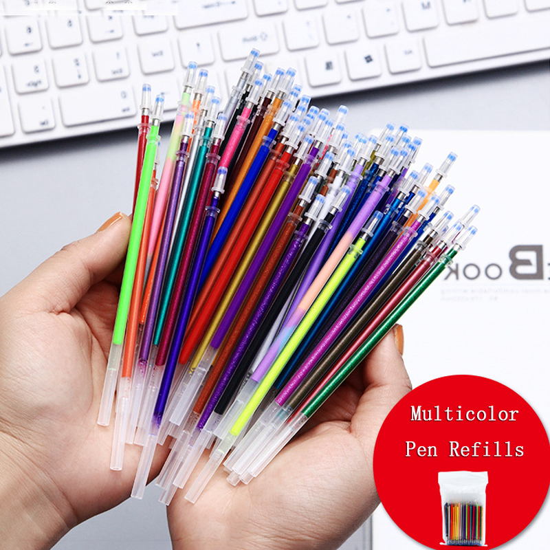 12 24 48 50 100 Pcs 1.0mm Cute Multicolor Gel Pen Refills Set Flash Colorful Replaceable Refill For Writing Painting Graffiti