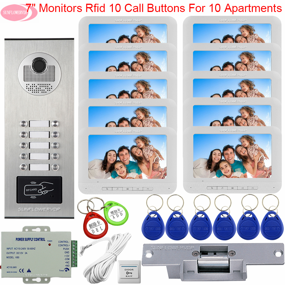 7inch Color Intercom For a Private Intercom for Apartments House Doorbell Camera Access Control Electric Strike Lock System Unit