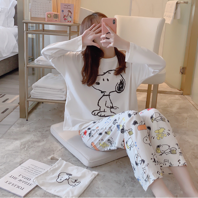 Cotton Cartoon Snoopy Cloth Bag Pajamas Women 's Autumn Pure Cotton Long Sleeve Trousers Storage Bag Three - Piece Set Cloth Bag