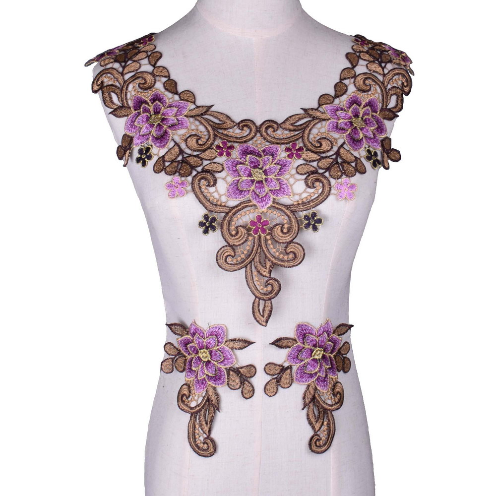 3D Flower Water-Soluble Embroidered Lace Fabric Trim Sewing DIY Collar Neckline Applique Crafts Garment Accessories Purple