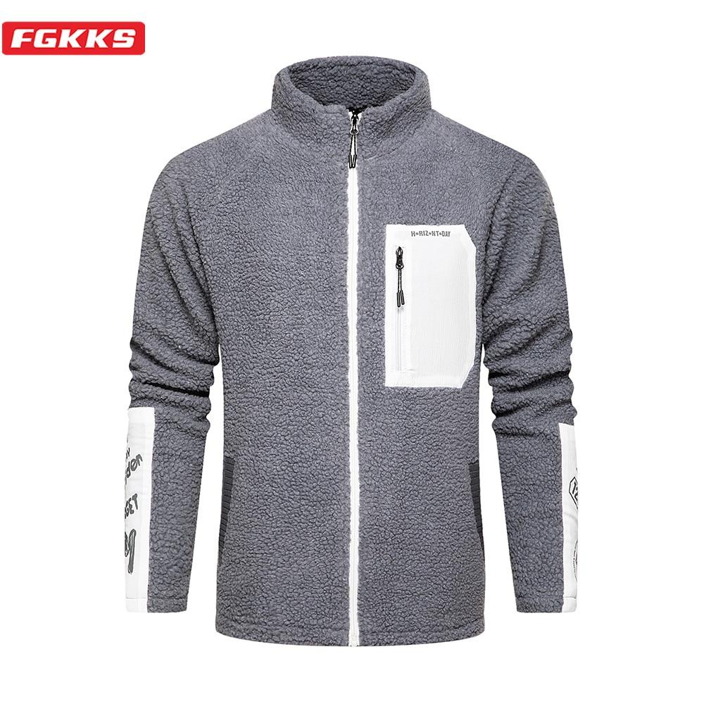 FGKKS Brand Men Fashion Hoodies Sweatshirt Winter Men's Patchwork Sweatshirt Fleece Thickening Warm Hoodies Sweatshirts Male