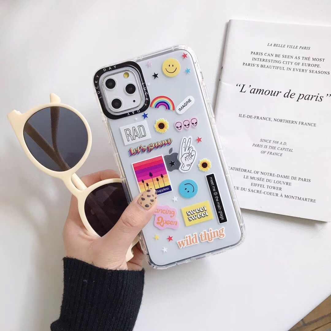 Ins Moda Arcobaleno foto sorriso cassa del telefono per il iphone SE 7 8 6 s Plus 11 pro X Xs Max xr Terra aereo Trasparente copertura di protezione della Lente