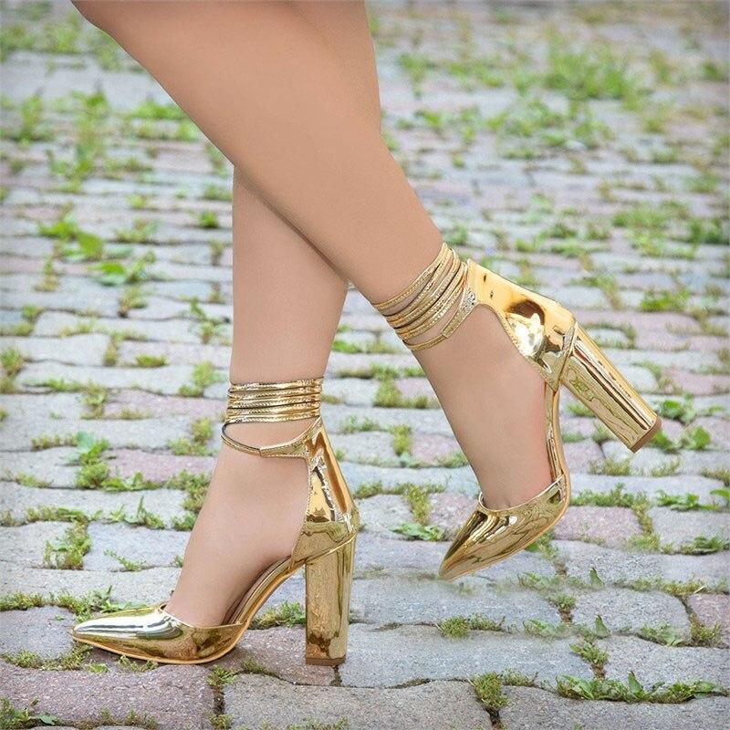 Mst-005 or miroir chaussures chaudes pour femmes bout pointu escarpins à talons hauts en cuir verni Dresshigh bateau mariage Zapatos