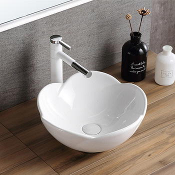 Nordic Above Counter Basin Ceramic Petal Shape Bathroom Art Washbasin Shampoo Sinks Hand Painted Porcelain Sinks Without Tap stately gold silver color art porcelain ceramic bathroom sinks