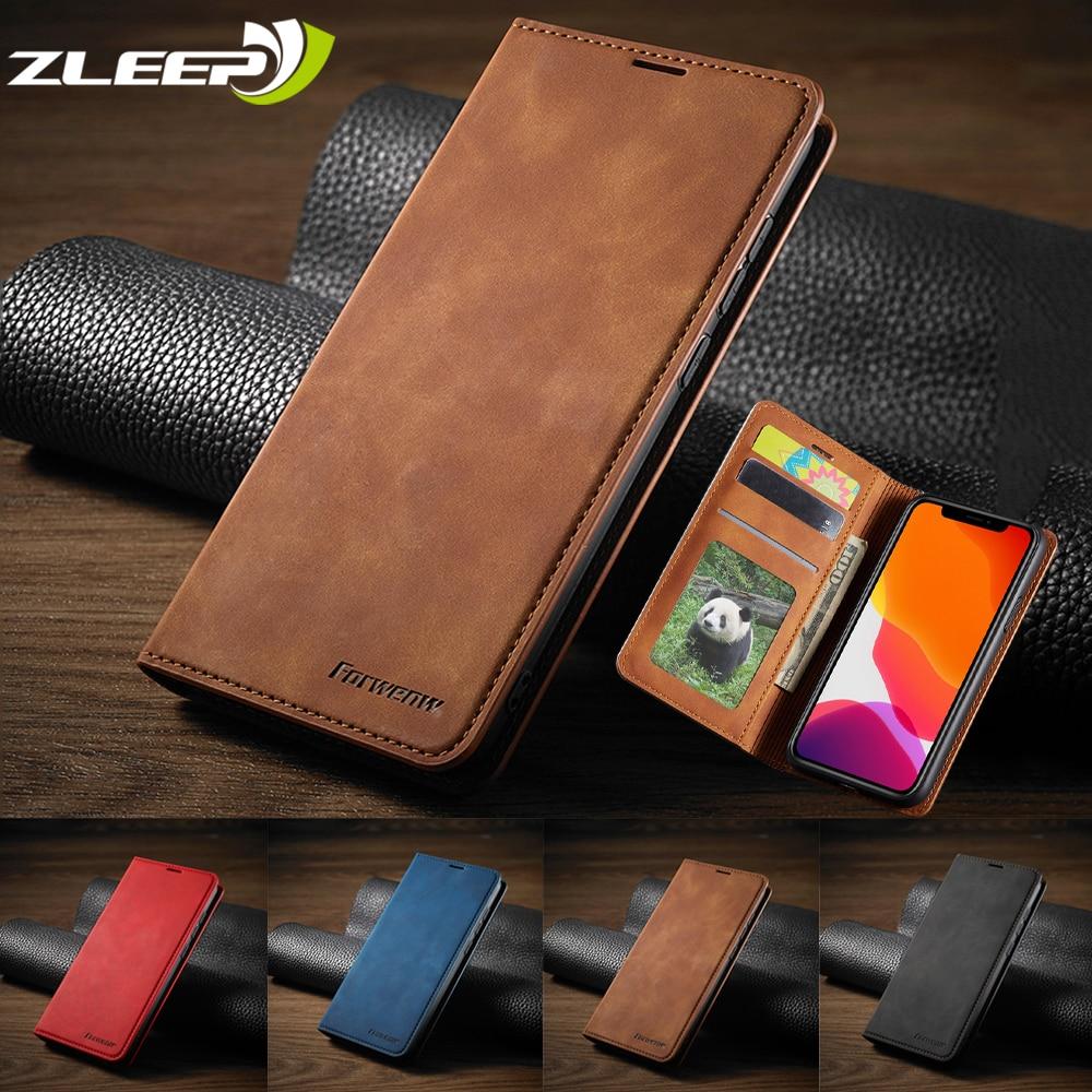 Funda de cuero de piel de lujo para iPhone SE 2020 12 Mini 11 Pro XR XS Max 8 7 6 6s Plus 5 5s, billetera con tapa y ranuras para tarjetas