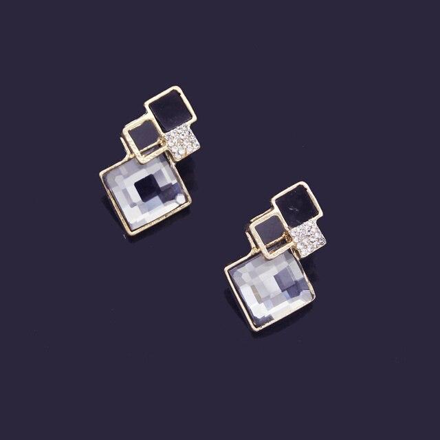 Crystal Geometric Pendants Necklace Earrings Sets for Women Fashion Jewelry Set Bridal Wedding Earring Necklace Set 4