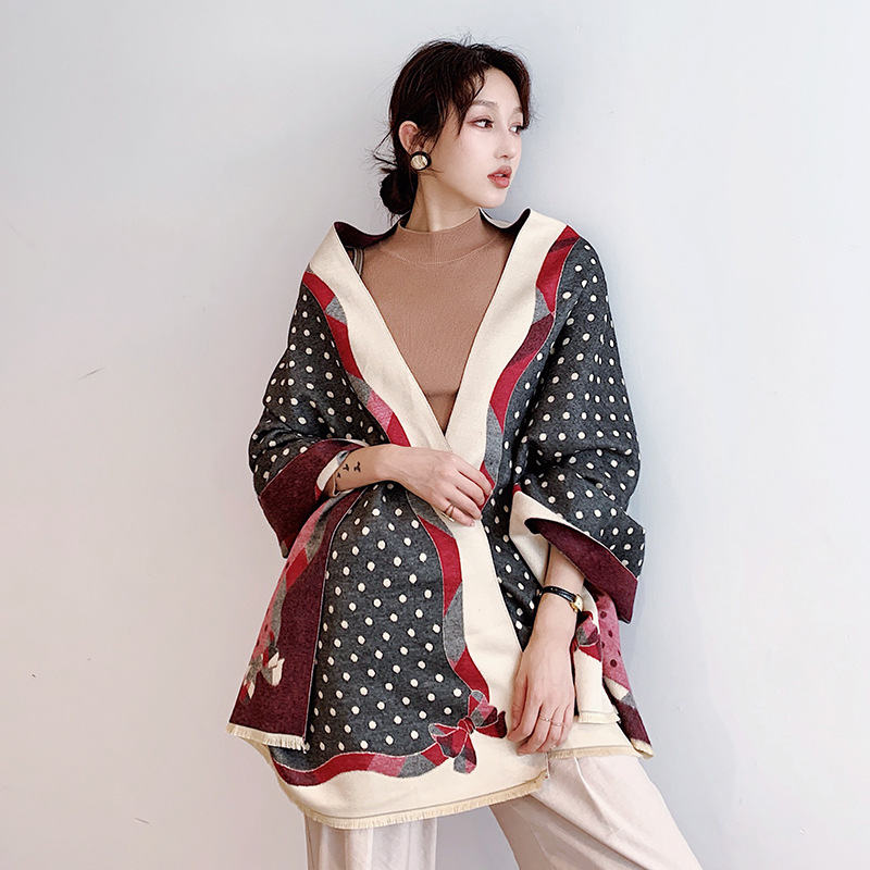 Dot Print Winter Cashmere Scarf Women 2019 New  Bow Thick Warm Shawls And Wraps Summer Office Lady Air Conditioner Pashmina