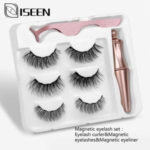 Image 3 - Pestañas postizas magnéticas 3D, 3 pares, delineador de ojos, pestañas postizas de visón, juego de pinzas líquidas impermeables, maquillaje de pestañas de larga duración