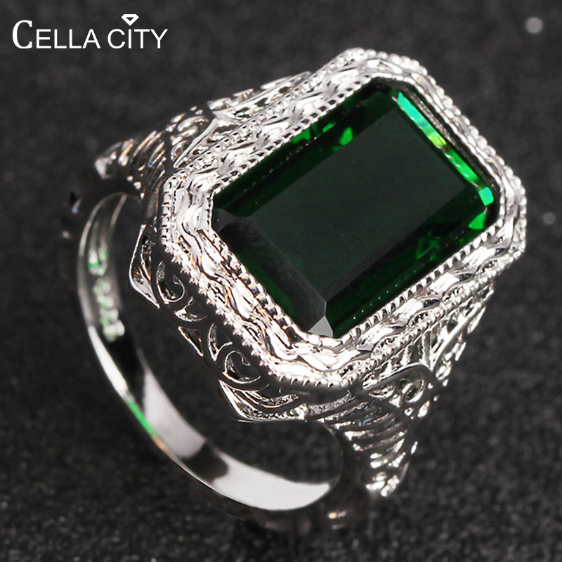 Cellacity Rectangle Emerald Ring For Women Silver 925 Jewelry Geometry Gemstones Female Birthday Anniversary Gifts Wholesale