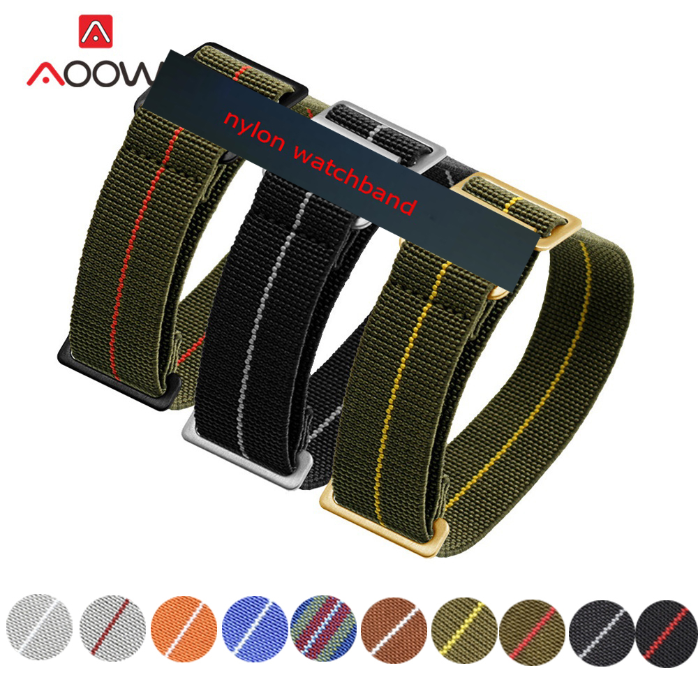 20mm 22mm NATO Nylon Straps Watchband Belt Military Bracelet French Troops Parachute Bag Stainless Steel Gold Color Buckle Strap