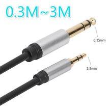 3.5mm plug para 6.35mm áudio aux cabo de linha macho para macho cabo para xiaomi cabos de vídeo de áudio accessoreis para alto-falante pc tv txtb1