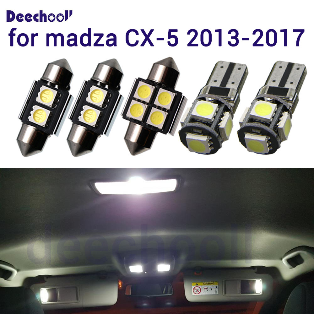 deechooll 14X White LED interior map dome lamps+License plate lights bulb for <font><b>Mazda</b></font> for madza CX-5 <font><b>2013</b></font>-2017 Lamp <font><b>Accessories</b></font> image